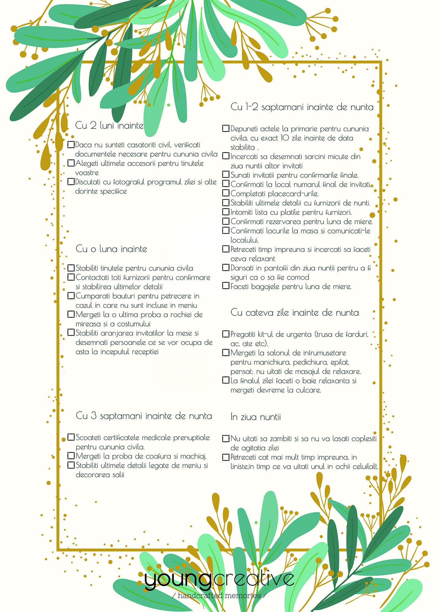 Checklist pentru planificarea nuntii | youngcreative.info media | fotograf nunta